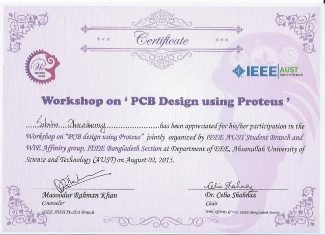certificate for workshop participation