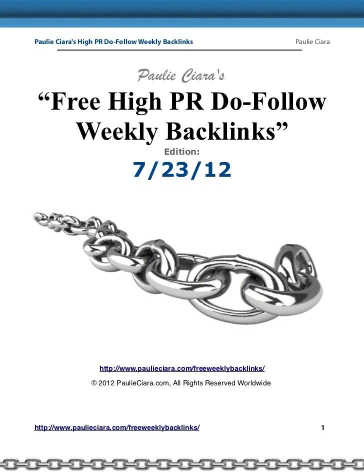 Paulie Ciaras High PR Do-Follow Weekly Backlinks                        Paulie Ciara                               Paulie ...