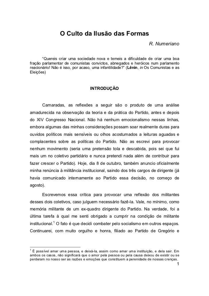 """O Culto da Ilusão das Formas                                                                         R. Numeriano       """"Q..."""