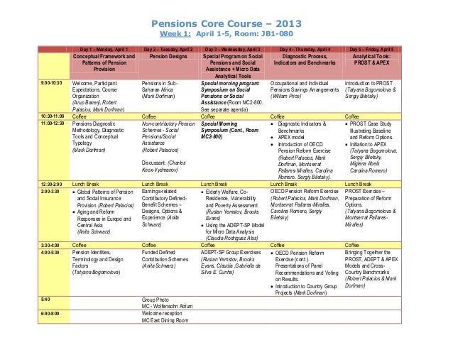 Pensions Core Course – 2013 Week 1: April 1-5, Room: JB1-080 Day 1 – Monday, April 1 Day 2 – Tuesday, April 2 Day 3 – Wedn...
