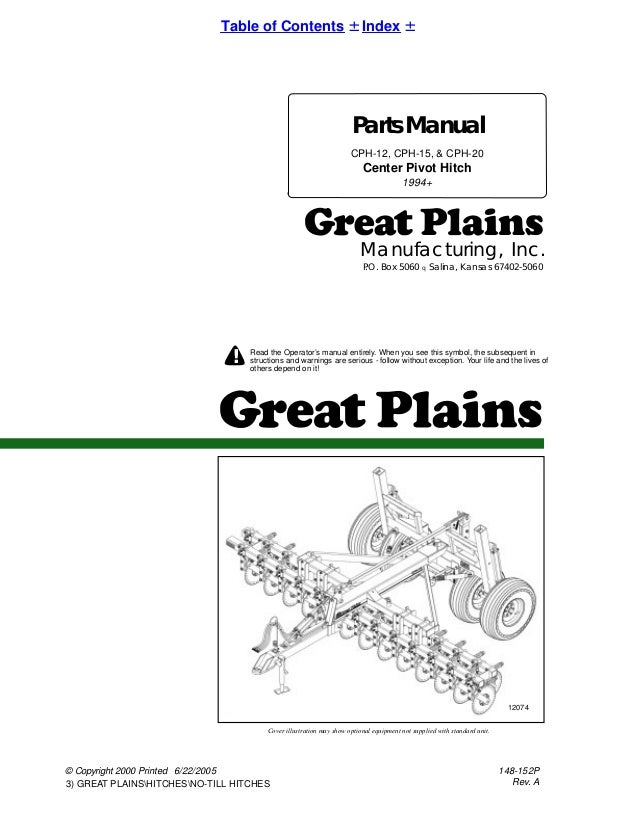 Great Plains Parts Manual Center Pivot Hitch Cph 12 Cph 15 Chp 20