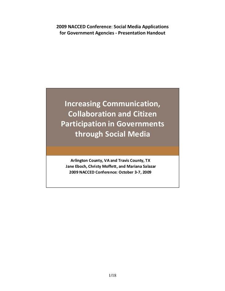 2009NACCEDConference:SocialMediaApplications  forGovernmentAgencies‐PresentationHandout        IncreasingCo...