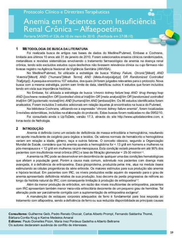 Protocolo Clínico e Diretrizes Terapêuticas Portaria SAS/MS no 226, de 10 de maio de 2010. (Retificada em 27.08.10) Anemia...
