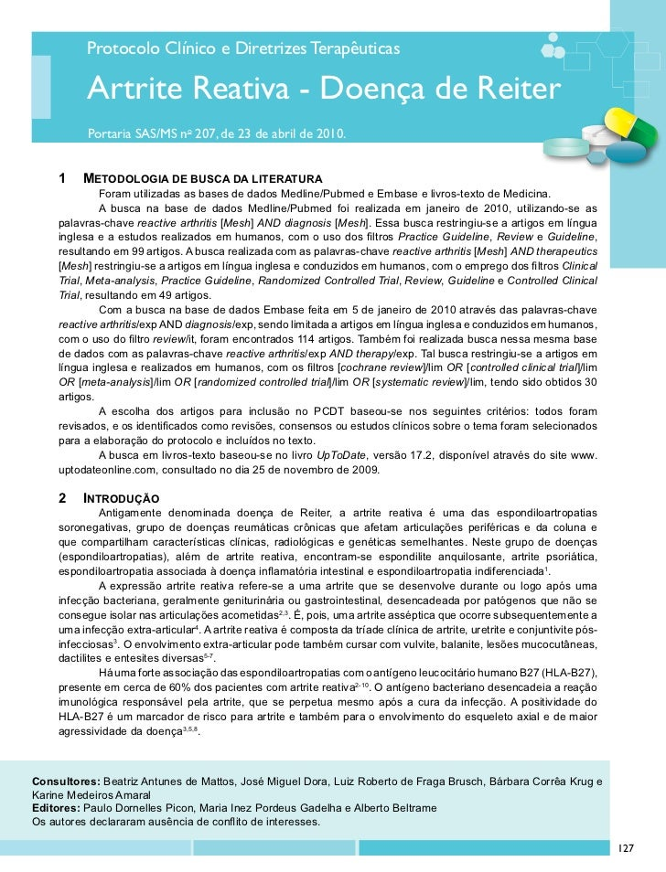 Protocolo Clínico e Diretrizes Terapêuticas           Artrite Reativa - Doença de Reiter           Portaria SAS/MS no 207,...