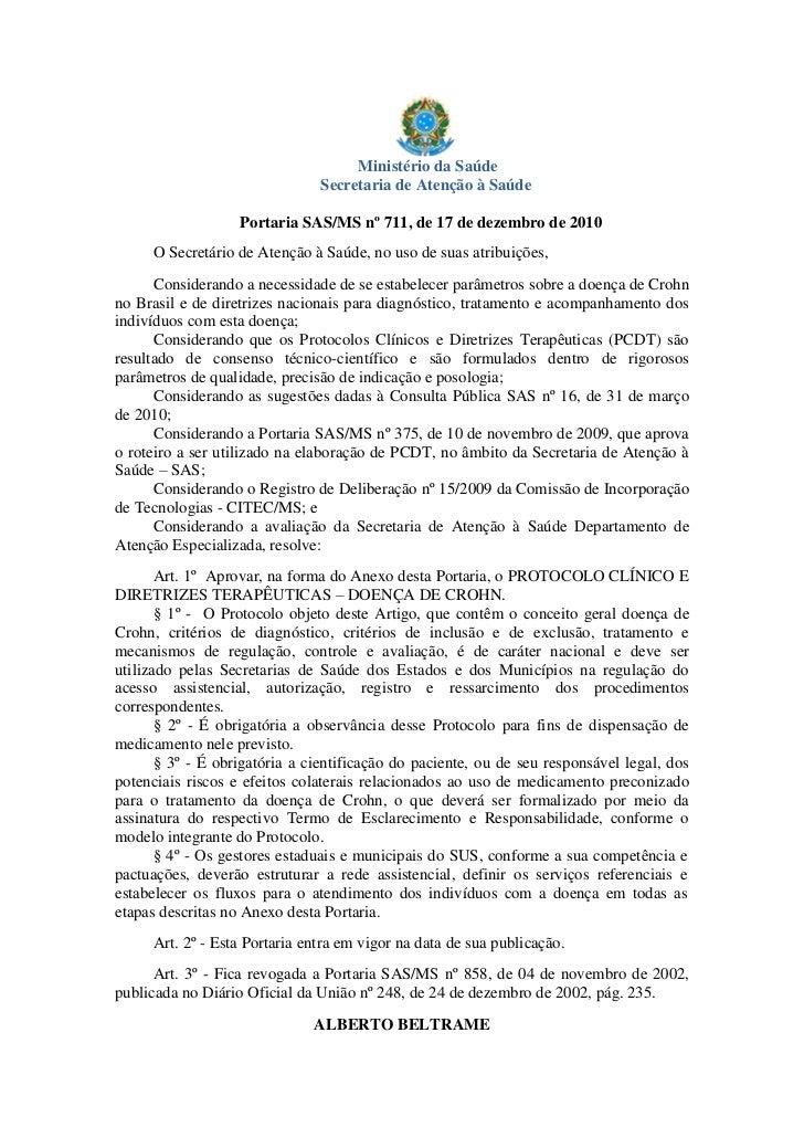 Ministério da Saúde                               Secretaria de Atenção à Saúde                   Portaria SAS/MS nº 711, ...