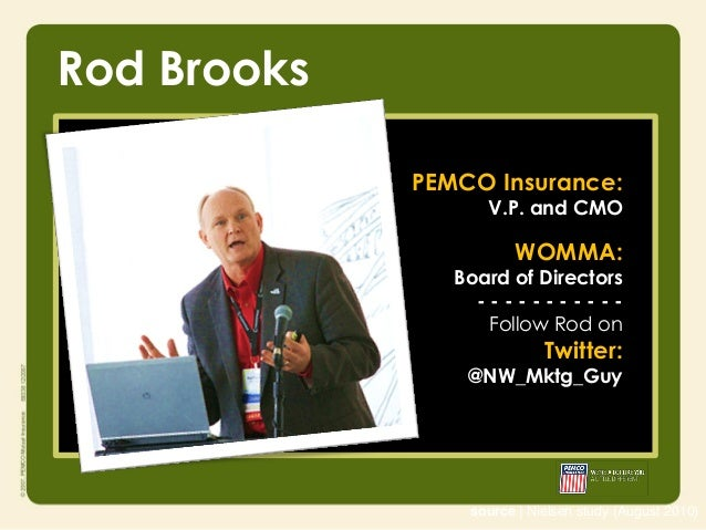 Rod Brooks             PEMCO Insurance:                   V.P. and CMO                        WOMMA:                Board ...