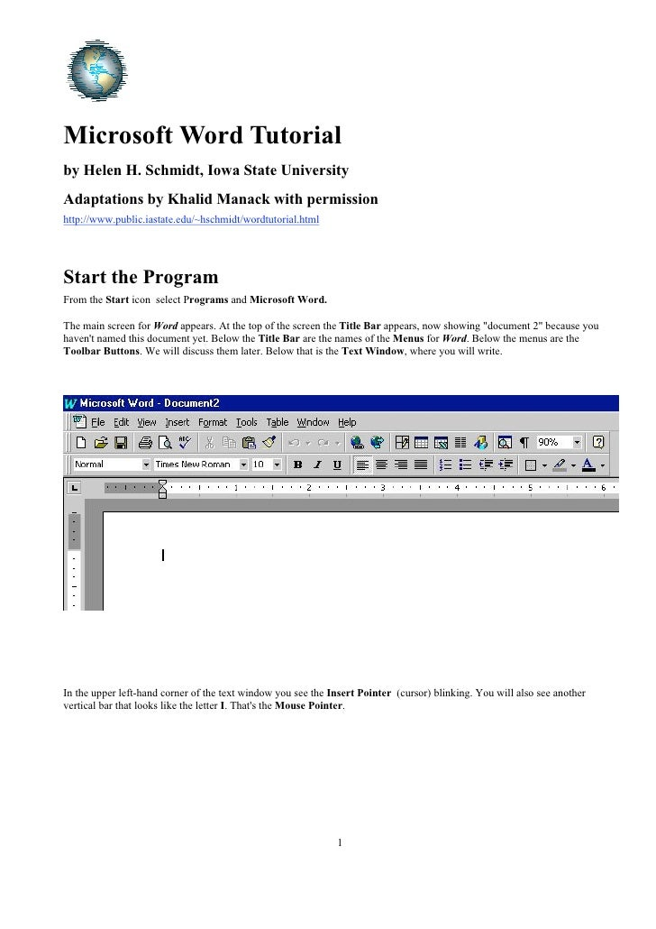 Microsoft Word Tutorial by Helen H. Schmidt, Iowa State University Adaptations by Khalid Manack with permission http://www...