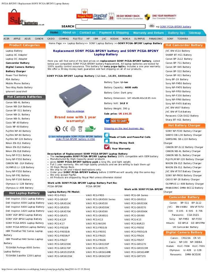 PCGA-BP2NY | Replacement SONY PCGA-BP2NY Laptop Battery                                                          SEARCH   ...