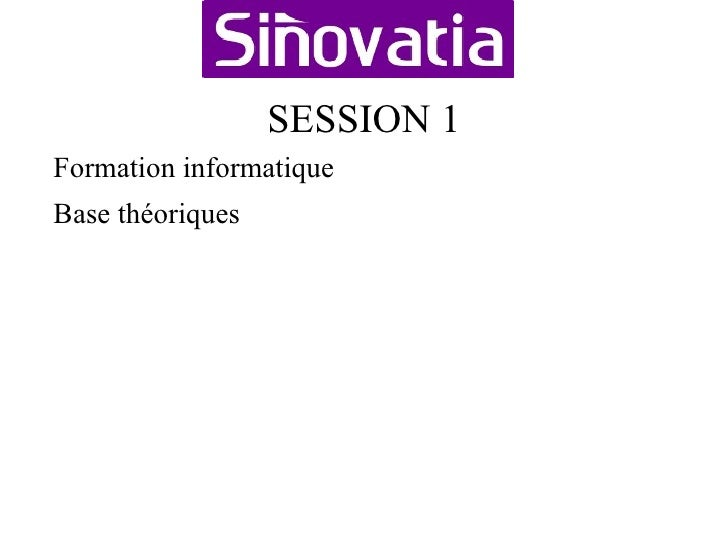 SESSION 1 <ul><li>Formation informatique