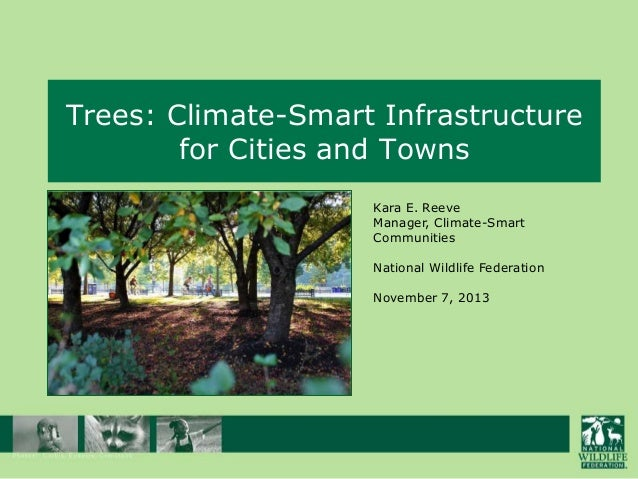 Trees: Climate-Smart Infrastructure for Cities and Towns Kara E. Reeve Manager, Climate-Smart Communities National Wildlif...