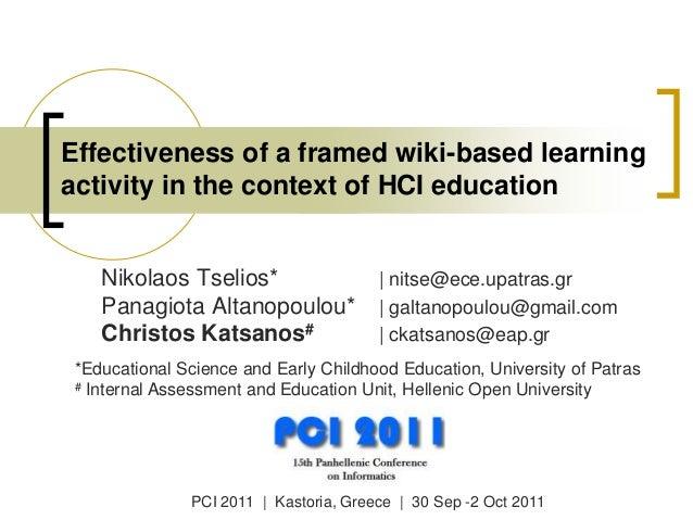 Nikolaos Tselios*   nitse@ece.upatras.gr Panagiota Altanopoulou*   galtanopoulou@gmail.com Christos Katsanos#   ckatsanos@...