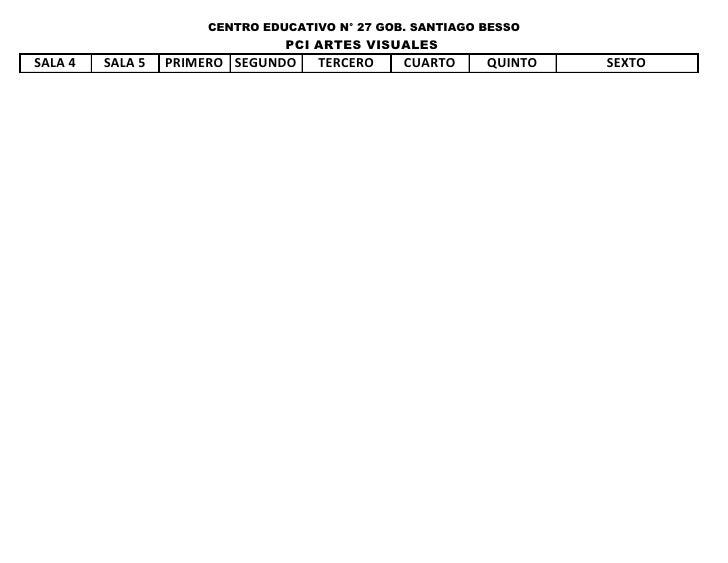 CENTRO EDUCATIVO N° 27 GOB. SANTIAGO BESSO                                PCI ARTES VISUALESSALA 4   SALA 5   PRIMERO SEGU...