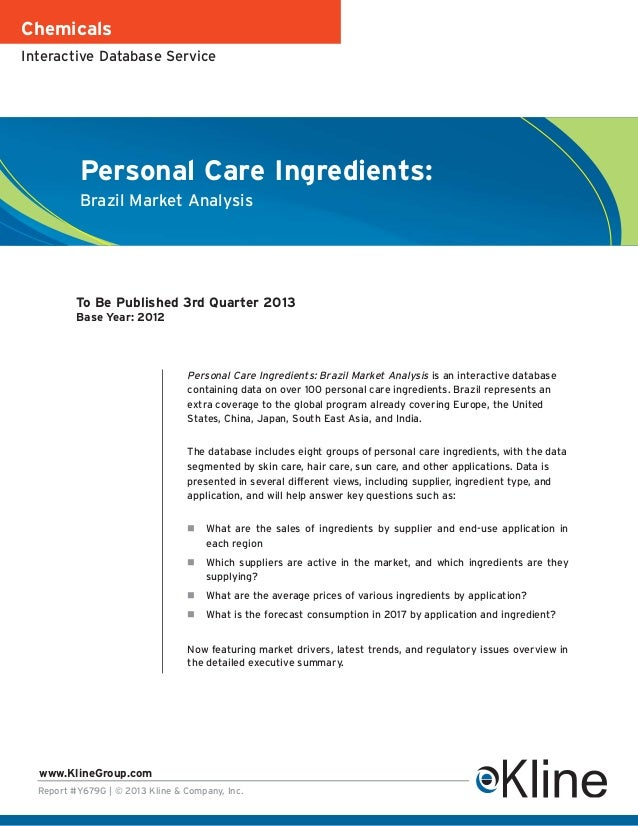 ChemicalsInteractive Database Service           Personal Care Ingredients:           Brazil Market Analysis          To Be...