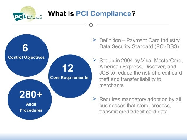 What is PCI Compliance? Definition – Payment Card IndustryData Security Standard (PCI-DSS) Set up in 2004 by Visa, Maste...