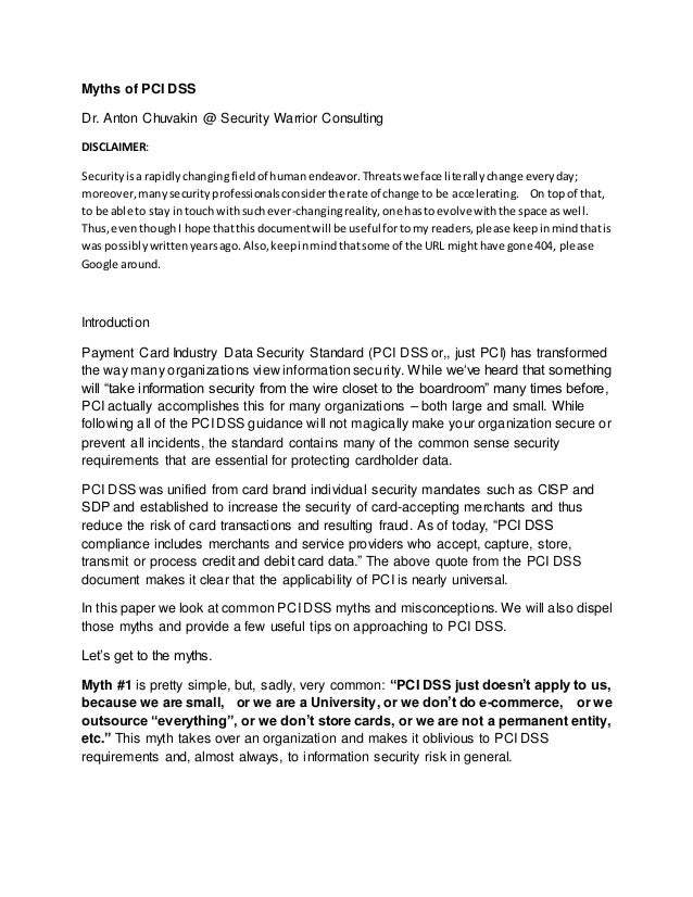 Myths of PCI DSS Dr. Anton Chuvakin @ Security Warrior Consulting DISCLAIMER: Securityisa rapidlychangingfieldof humanende...
