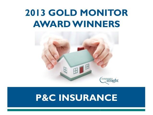 2013 GOLD MONITOR AWARD WINNERS  P&C INSURANCE