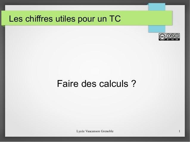 Les chiffres utiles pour un TC  Faire des calculs ?  Lycée Vaucanson Grenoble 1