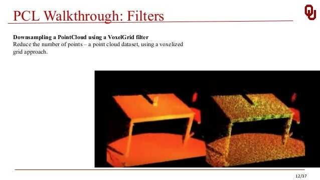 PCL Walkthrough: Filters 12/37 Downsampling a PointCloud using a VoxelGrid filter Reduce the number of points – a point cl...