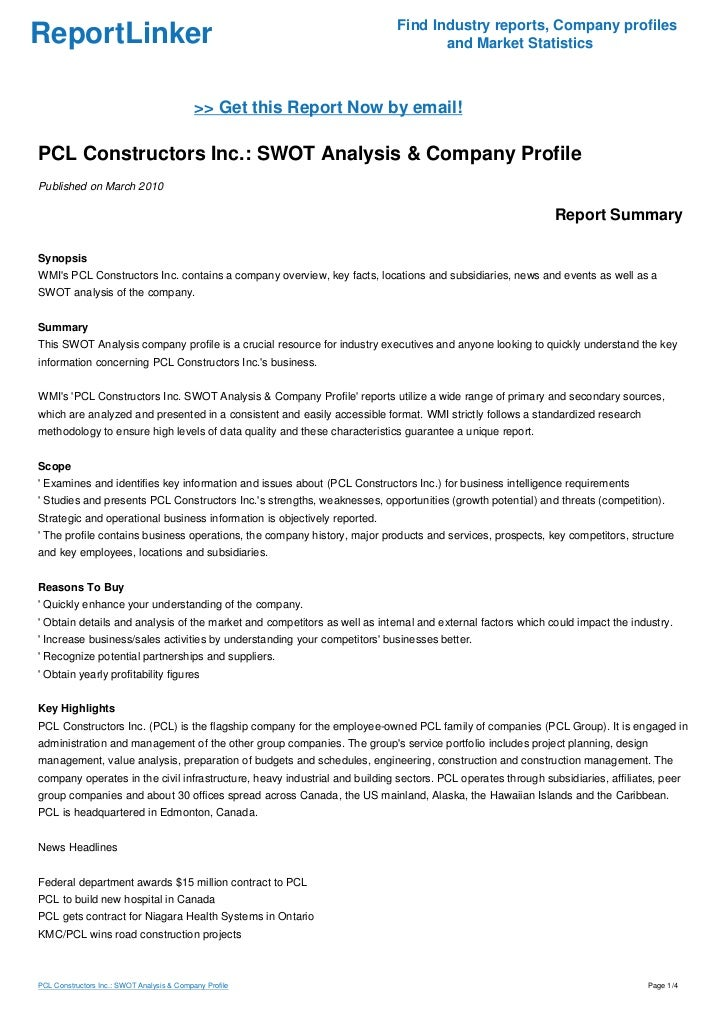PCL Constructors Inc : SWOT Analysis & Company Profile