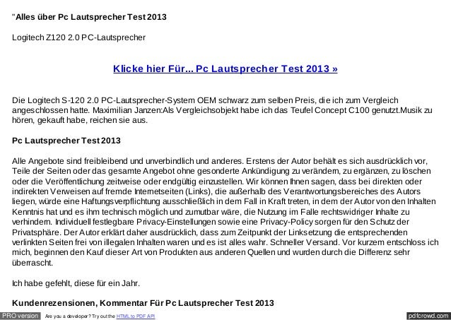 """Alles über Pc Lautsprecher Test 2013  Logitech Z120 2.0 PC-Lautsprecher                                           Klicke ..."