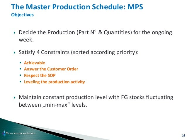 16  Decide the Production (Part N° & Quantities) for the ongoing week.  Satisfy 4 Constraints (sorted according priority...
