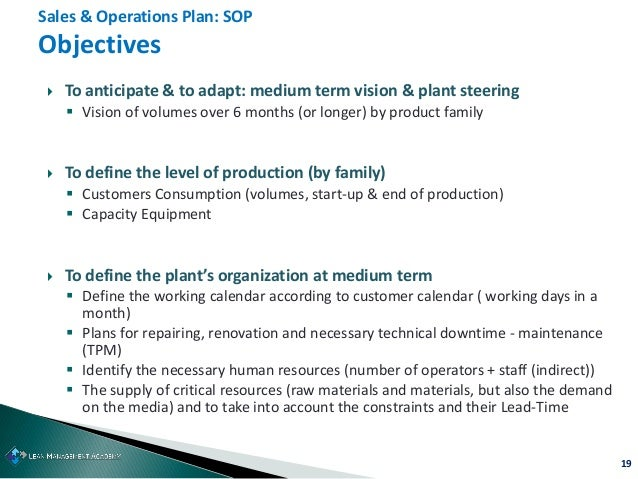 19  To anticipate & to adapt: medium term vision & plant steering  Vision of volumes over 6 months (or longer) by produc...