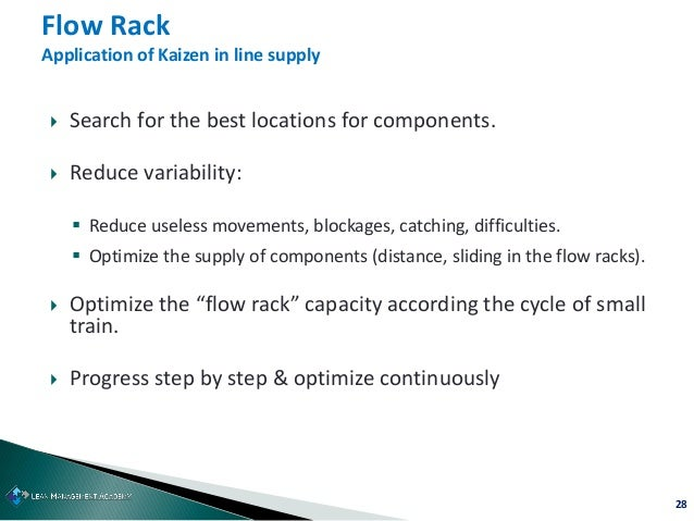 28  Search for the best locations for components.  Reduce variability:  Reduce useless movements, blockages, catching, ...