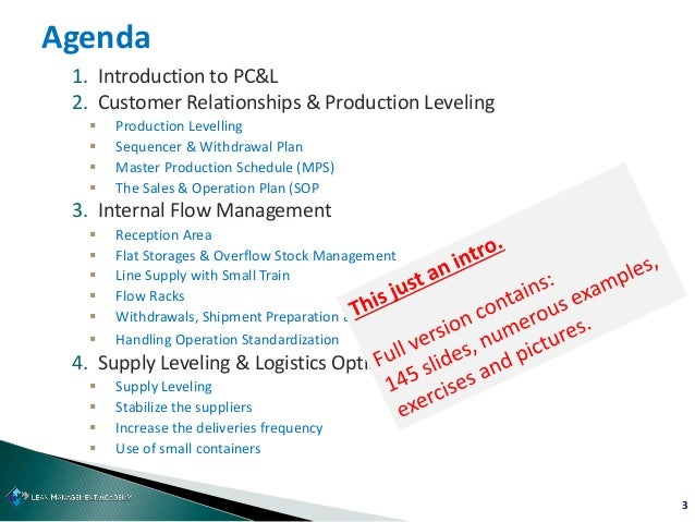 3 1. Introduction to PC&L 2. Customer Relationships & Production Leveling  Production Levelling  Sequencer & Withdrawal ...
