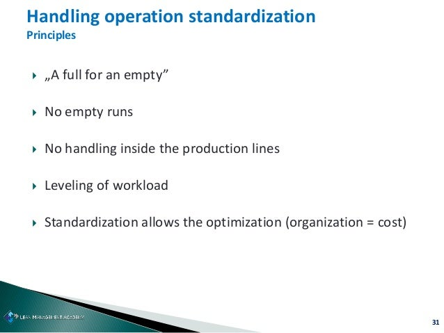 """31  """"A full for an empty""""  No empty runs  No handling inside the production lines  Leveling of workload  Standardizat..."""