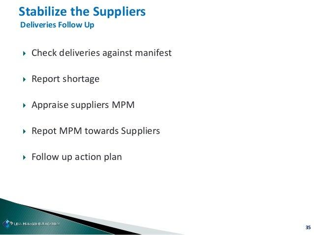 35  Check deliveries against manifest  Report shortage  Appraise suppliers MPM  Repot MPM towards Suppliers  Follow u...