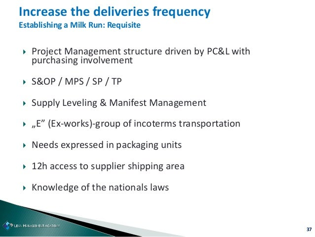 37  Project Management structure driven by PC&L with purchasing involvement  S&OP / MPS / SP / TP  Supply Leveling & Ma...