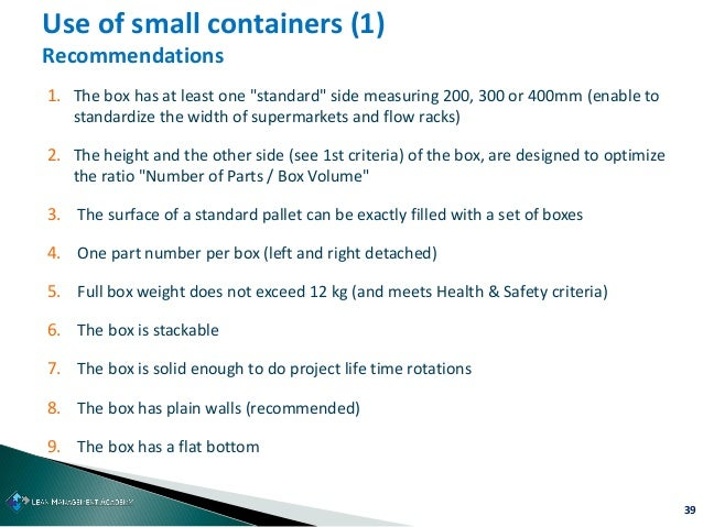 """39 Use of small containers (1) Recommendations 1. The box has at least one """"standard"""" side measuring 200, 300 or 400mm (en..."""