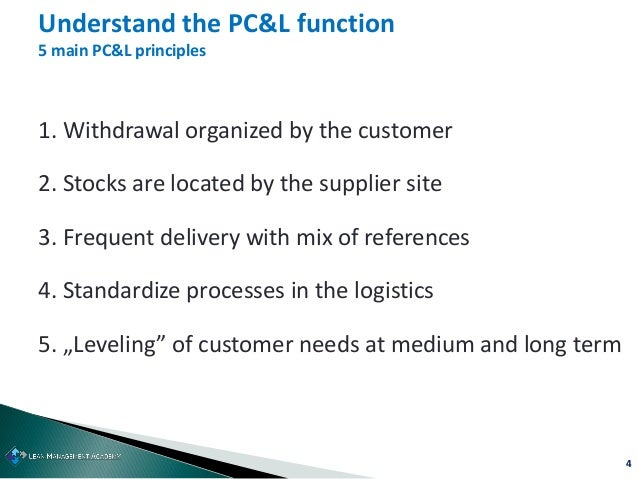 4 1. Withdrawal organized by the customer 2. Stocks are located by the supplier site 3. Frequent delivery with mix of refe...