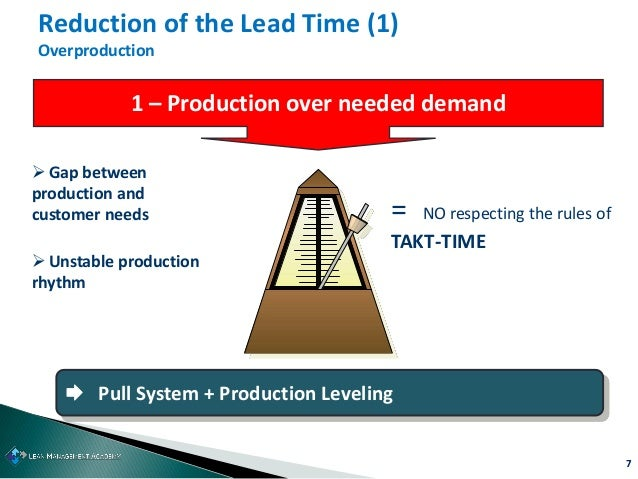 7 Reduction of the Lead Time (1) Overproduction 1 – Production over needed demand  Gap between production and customer ne...