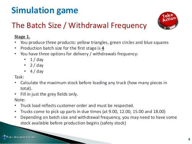 9 Simulation game The Batch Size / Withdrawal Frequency Stage 1. • You produce three products: yellow triangles, green cir...