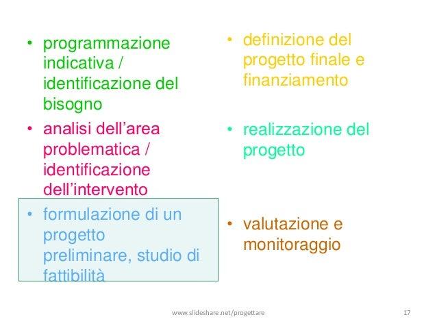 • programmazione                     • definizione del  indicativa /                         progetto finale e  identifica...