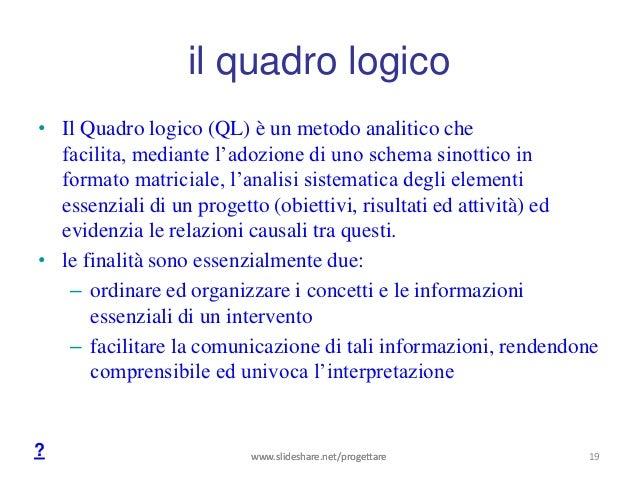 il quadro logico• Il Quadro logico (QL) è un metodo analitico che  facilita, mediante l'adozione di uno schema sinottico i...