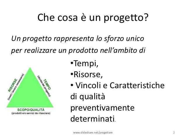 Che cosa è un progetto?Un progetto rappresenta lo sforzo unicoper realizzare un prodotto nell'ambito di                  •...