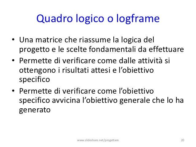Quadro logico o logframe• Una matrice che riassume la logica del  progetto e le scelte fondamentali da effettuare• Permett...