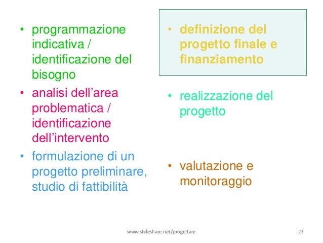 • programmazione                    • definizione del  indicativa /                        progetto finale e  identificazi...