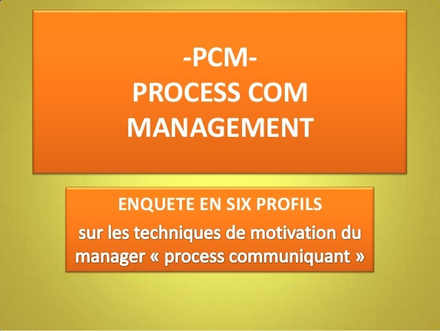 -PCM- PROCESS COM MANAGEMENT ENQUETE EN SIX PROFILS
