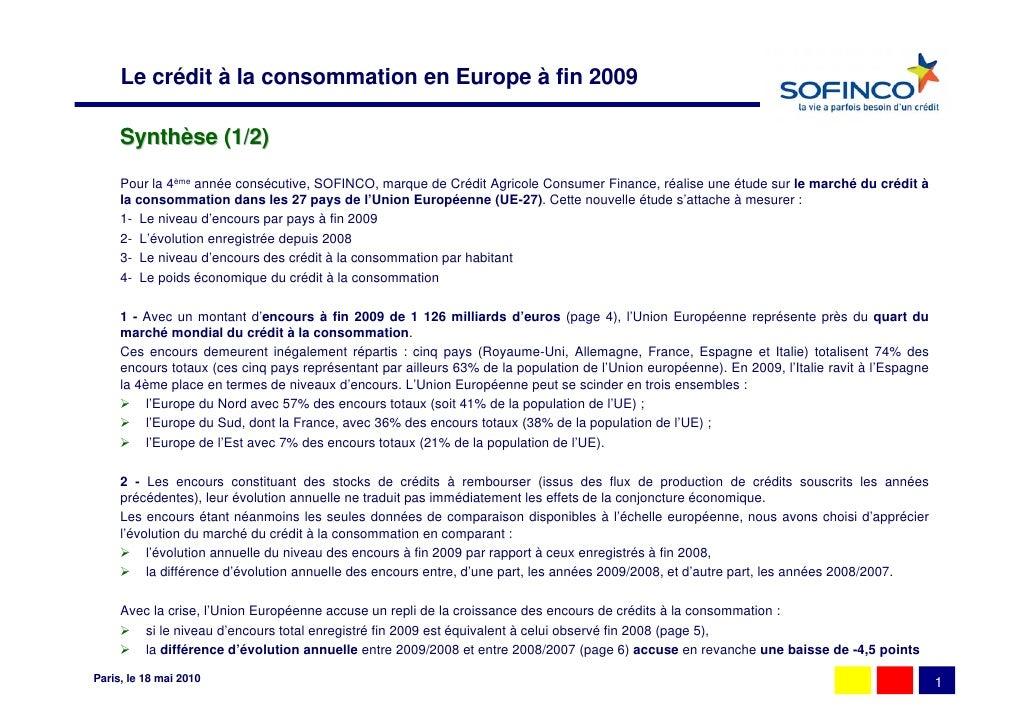 le marché européen du crédit à la consommation (fin 2009) Slide 2