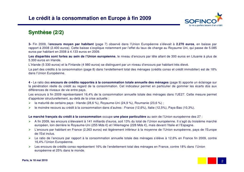 le marché européen du crédit à la consommation (fin 2009) Slide 3