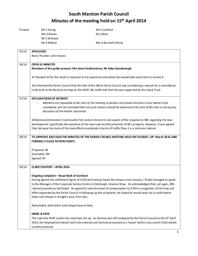 1 South Marston Parish Council Minutes of the meeting held on 15th April 2014 Present: Mr S Young Mr A Leathart Mrs S Brow...