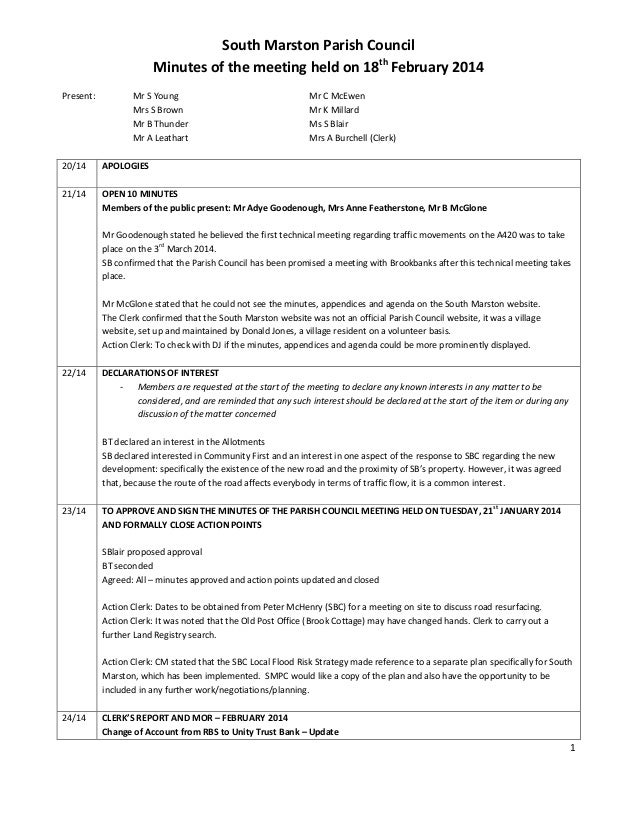 1 South Marston Parish Council Minutes of the meeting held on 18th February 2014 Present: Mr S Young Mr C McEwen Mrs S Bro...