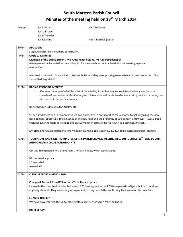1 South Marston Parish Council Minutes of the meeting held on 18th March 2014 Present: Mr S Young Mr C McEwen Mrs S Brown ...