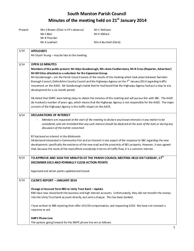 1 South Marston Parish Council Minutes of the meeting held on 21st January 2014 Present: Mrs S Brown (Chair in SY's absenc...