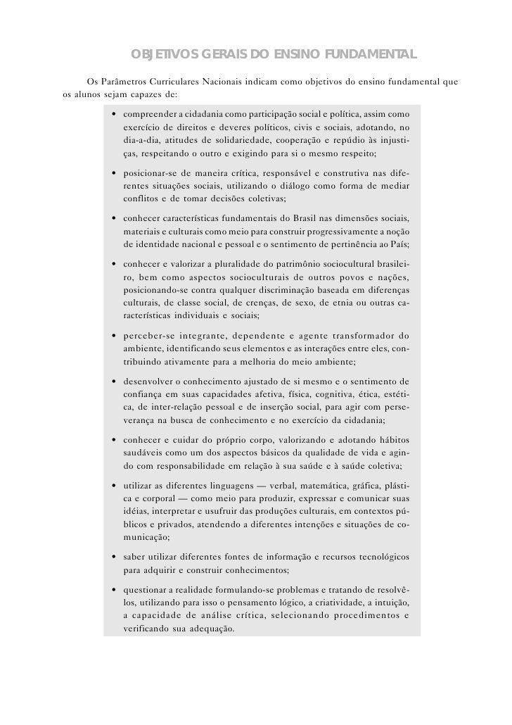 ESTRUTURA DOS PARÂMETROS CURRICULARES NACIONAIS       PARA O ENSINO FUNDAMENTAL          Os quadrinhos não-sombreados corr...