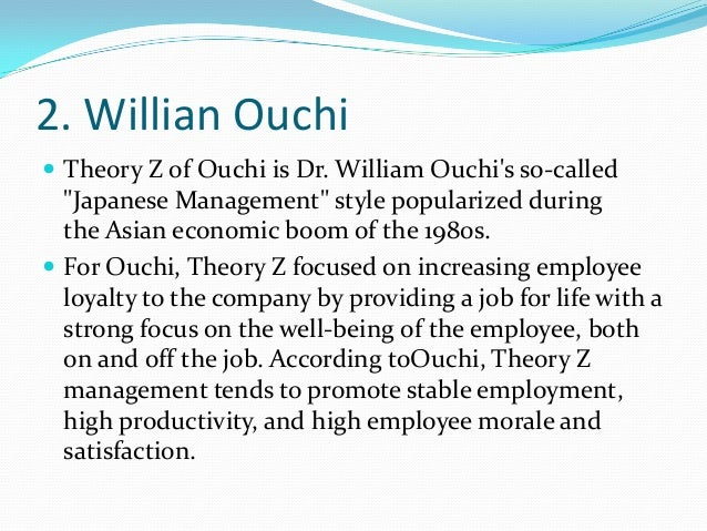 William Ouchi's Theory Z of Motivation: Features and Limitations