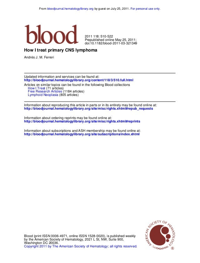 From bloodjournal.hematologylibrary.org by guest on July 25, 2011. For personal use only.  2011 118: 510-522 Prepublished ...